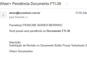 E-mail automático - Exemplo de e-mail com pendência enviada automaticamente.
