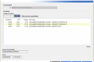 Tela de apontamento - Tela de apontamento feita pelos operadores baseada no código de barras do cartão.